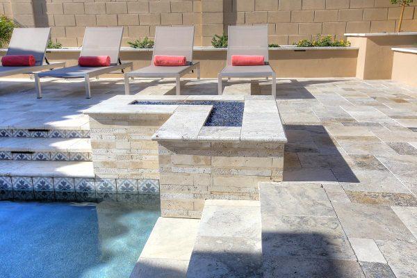 "Philadelphia Travertine VP Paver and Pool Coping, Nysa Stack Stone Travertine Mosaic Tile, Fiore Martia 6""x6"" Waterline Tile"