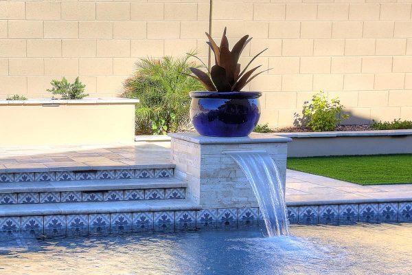 "Philadelphia Travertine Pool Coping, Nysa Stack Stone Travertine Mosaic Tile, Fiore Martia 6""x6"" Waterline Tile"