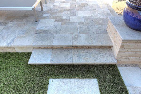 Philadelphia Travertine VP Paver and Pool Coping, Nysa Stack Stone Travertine Mosaic Tile