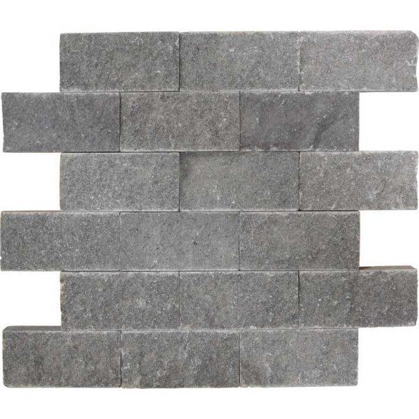 Black Basalt Split Face Tile 2x4 Black Gray Indoor Outdoor Wall Backsplash Tub Shower Vanity QDIsurfaces