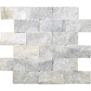Lusso Carrara Marble Split Face Tile 2x4 Gray White Indoor Outdoor Wall Backsplash Tub Shower Vanity QDIsurfaces