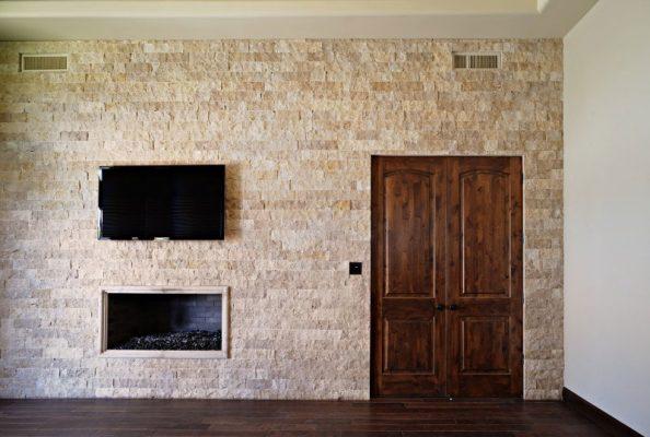 Noce Travertine Split Face Tile 4 x Random Length 3 Beige Cream Tan Brown Gray White Indoor Outdoor Wall Backsplash Tub Shower Vanity QDI