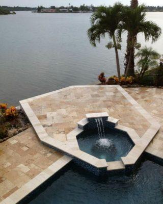 Riviera Travertine Paver Versailles Pattern Tumbled 4 Tan Brown Beige Cream White Gray Outdoor Floor Wall Pool Patio Backyard Tub Shower Vanity
