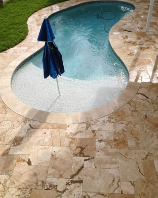 Riviera Travertine Paver Versailles Pattern Tumbled 7 Tan Brown Beige Cream White Gray Outdoor Floor Wall Pool Patio Backyard Tub Shower Vanity
