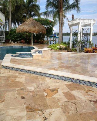Riviera Travertine Paver Versailles Pattern Tumbled 8 Tan Brown Beige Cream White Gray Outdoor Floor Wall Pool Patio Backyard Tub Shower Vanity