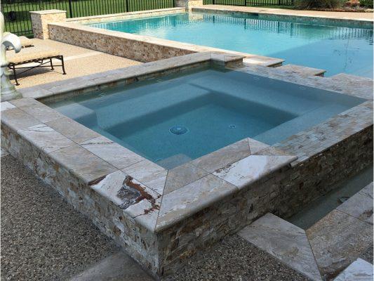 Riviera Travertine Pool Coping 12x24 3cm Honed, Riviera 2x4 Split-face Mosaic