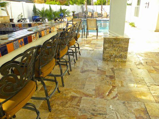 Sedona Fantastico Travertine Paver Versailles Pattern Tumbled 25 Tan Brown Beige Cream Red Pink White Gray Outdoor Floor Wall Patio