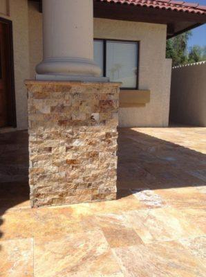 Sedona Fantastico Travertine Paver Versailles Pattern Tumbled 30 Tan Brown Beige Cream Red Pink White Gray Outdoor Floor Wall Patio