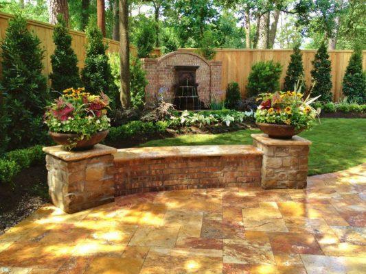 Sedona Fantastico Travertine Paver Versailles Pattern Tumbled 38 Tan Brown Beige Cream Red Pink White Gray Outdoor Floor Backyard
