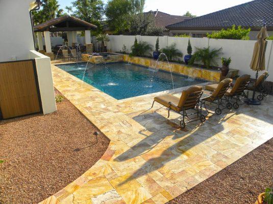 Sedona Fantastico Travertine Paver Versailles Pattern Tumbled 7 Tan Brown Beige Cream Red Pink White Gray Outdoor Floor Wall Pool