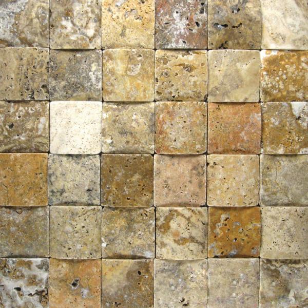 Fantastico 2x2 3D Unfilled Honed Travertine Mosaic Tile