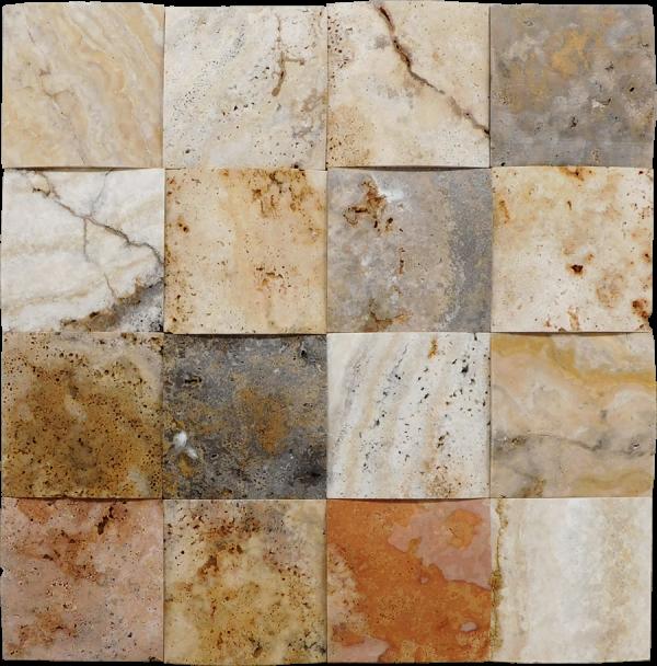 Fantastico 4x4 3D Unfilled Honed Travertine Mosaic Tile