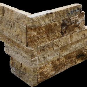 Alpine 3-Size Corner Piece Travertine Split-face Mosaic Tile