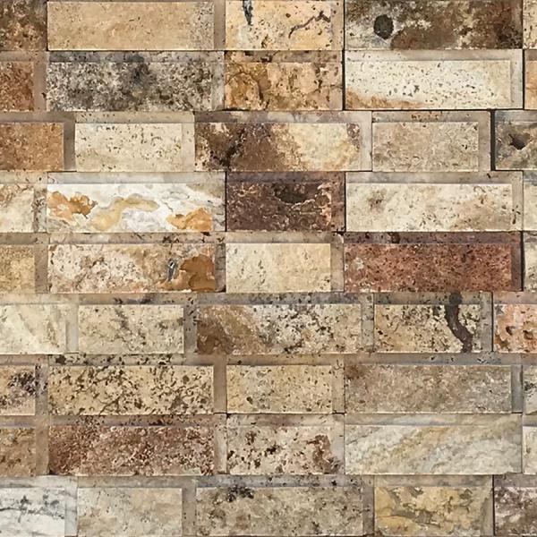 Fantastico Brick Pattern 6x20 Travertine Split-face Mosaic Tile