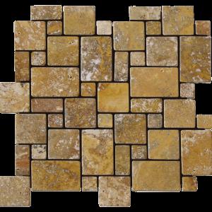QDI Gold Micro Versailles Pattern Travertine Tumbled Mosaic Tile