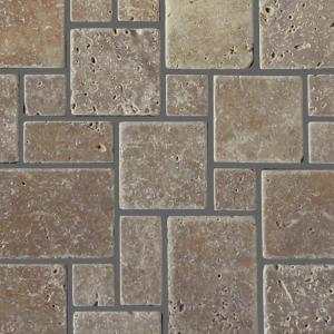 QDI Noce Micro Versailles Pattern Travertine Tumbled Mosaic Tile